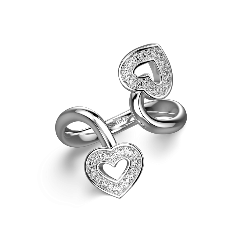 Two Hearts Twisted Pave Ring 18K White Gold | Shimansky