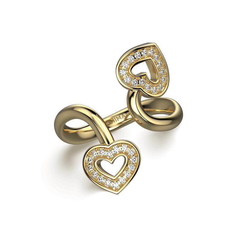 Two Hearts Twisted Pave Ring 18K Yellow Gold | Shimansky