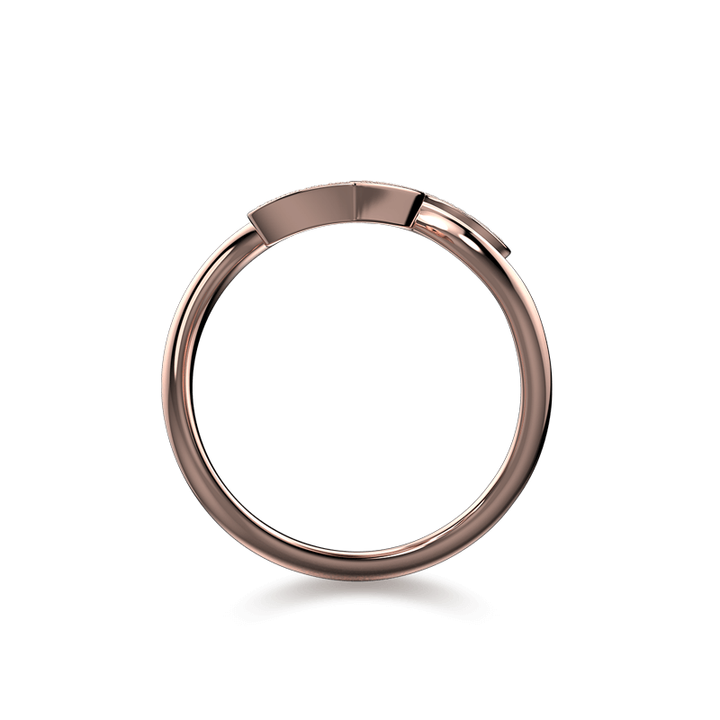 Two Hearts Twisted Pave Ring 18K Rose Gold | Shimansky
