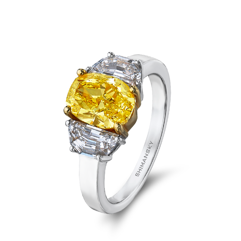Shimansky Fancy Yellow Oval Diamond Trilogy Ring