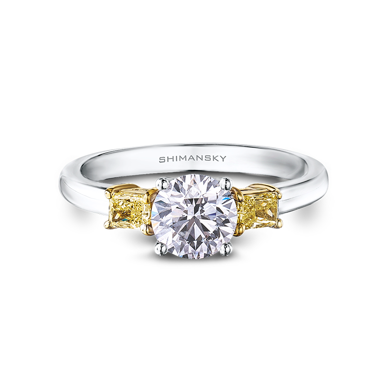 Shimansky Round Brilliant Diamond Ring with Fancy Yellow Side Diamonds