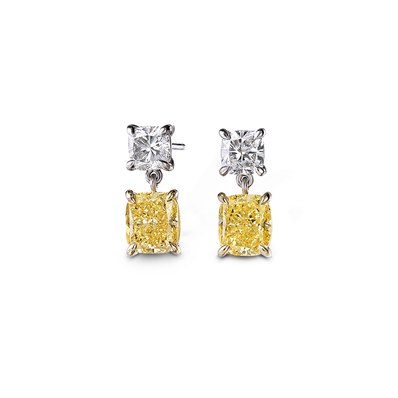 Shimansky Fancy Yellow Cushion Drop Earrings