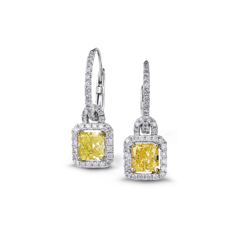 Shimansky Fancy Yellow Diamond Halo Drop Earrings