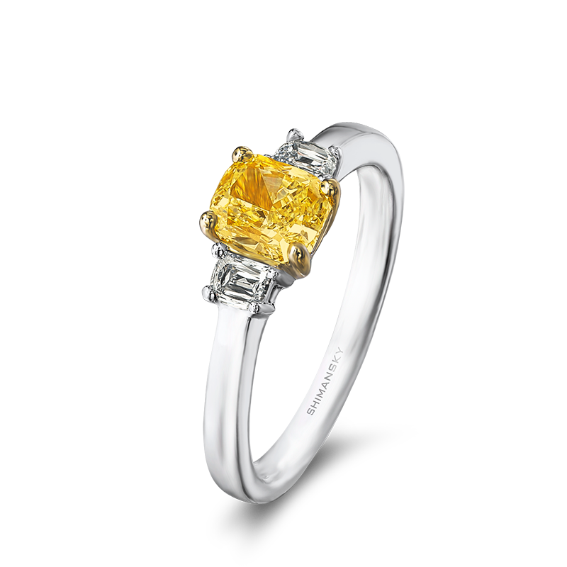 Shimansky Fancy Yellow Cushion cut Trilogy Ring
