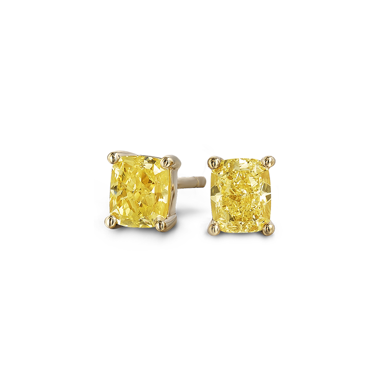 Shimansky Fancy Yellow Cushion Cut Solitaire Studs