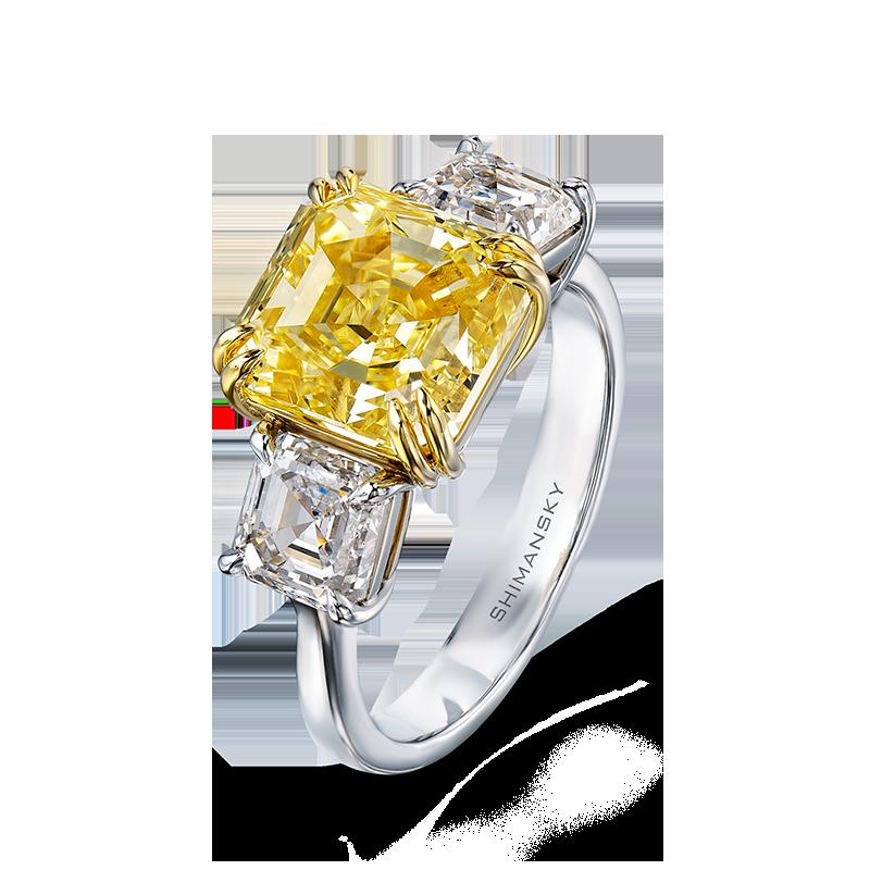 Shimansky Fancy Yellow Square Emerald Diamond Trilogy Ring