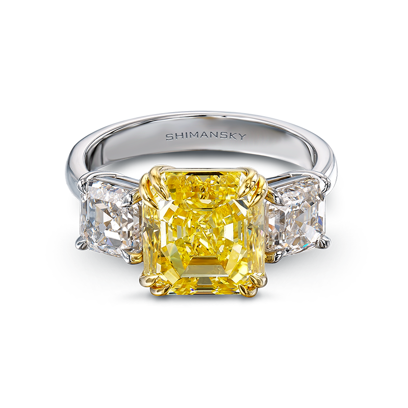 Shimansky Fancy Yellow Square Emerald Diamond Trilogy Ring