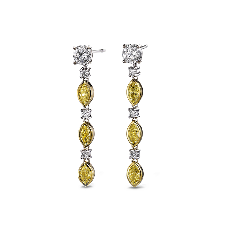 Shimansky Fancy Yellow Diamond Drop Earrings
