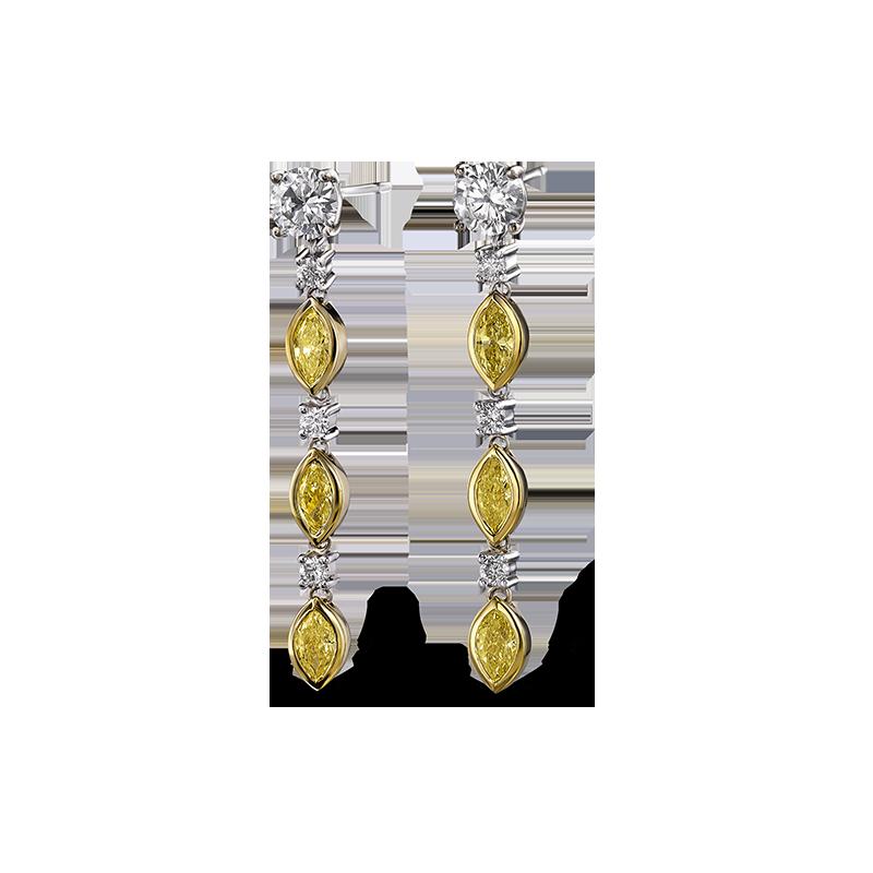 Shimansky Fancy Yellow Diamond Drop Earrings