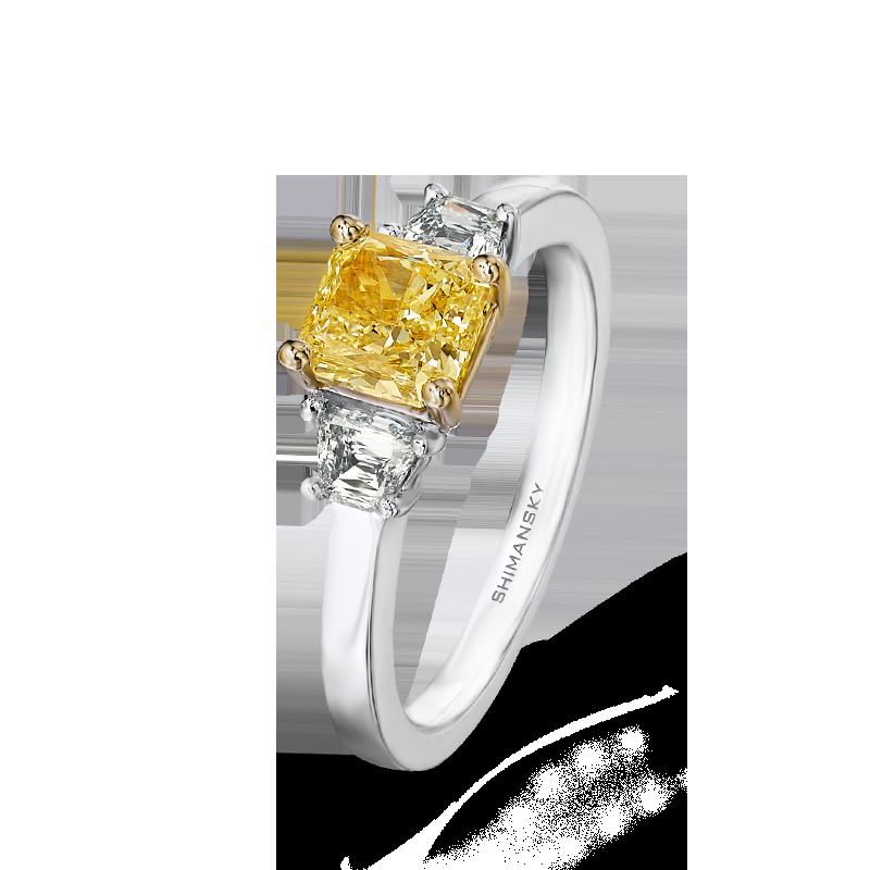28-claw-set-cushion-cut-yellow-diamond-trilogy-ring-set-with-criss-trapese-cut-diamonds-01