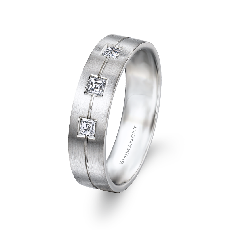 Max-Line Brushed Gents Ring with Asscher Diamonds