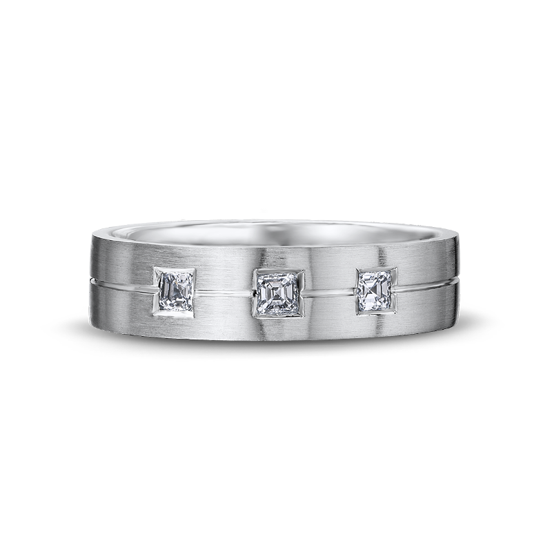 Max-Line Brushed Gents Band with Asscher Diamonds