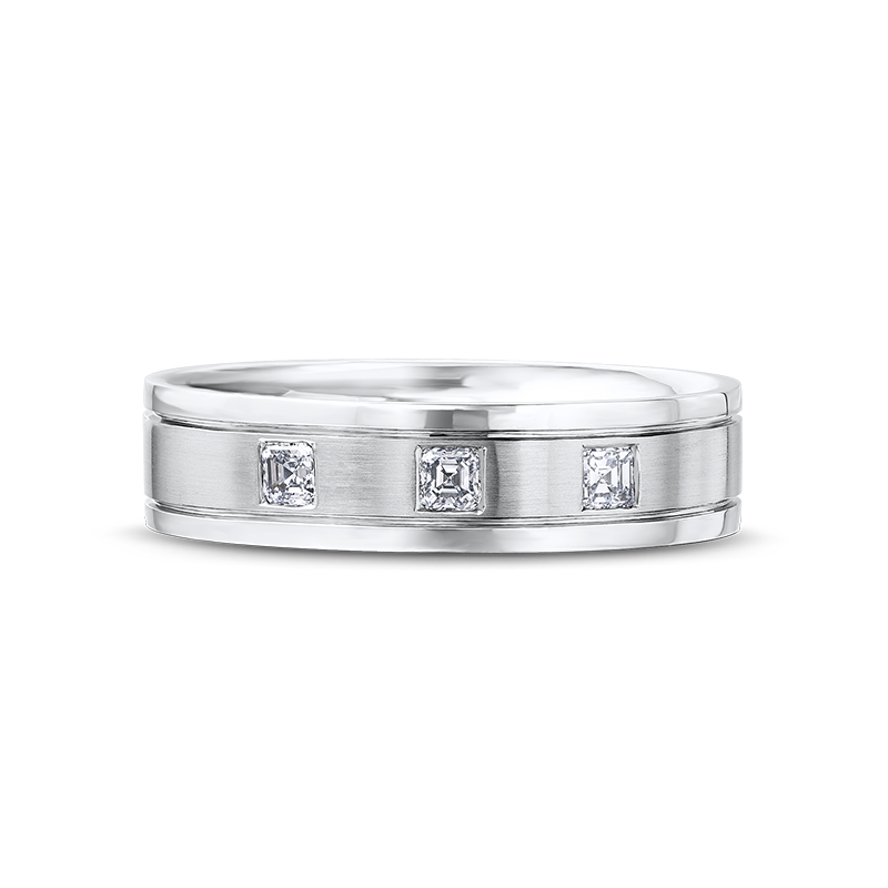 Max-Line Brushed and Shiny Triple Diamond Mens Band
