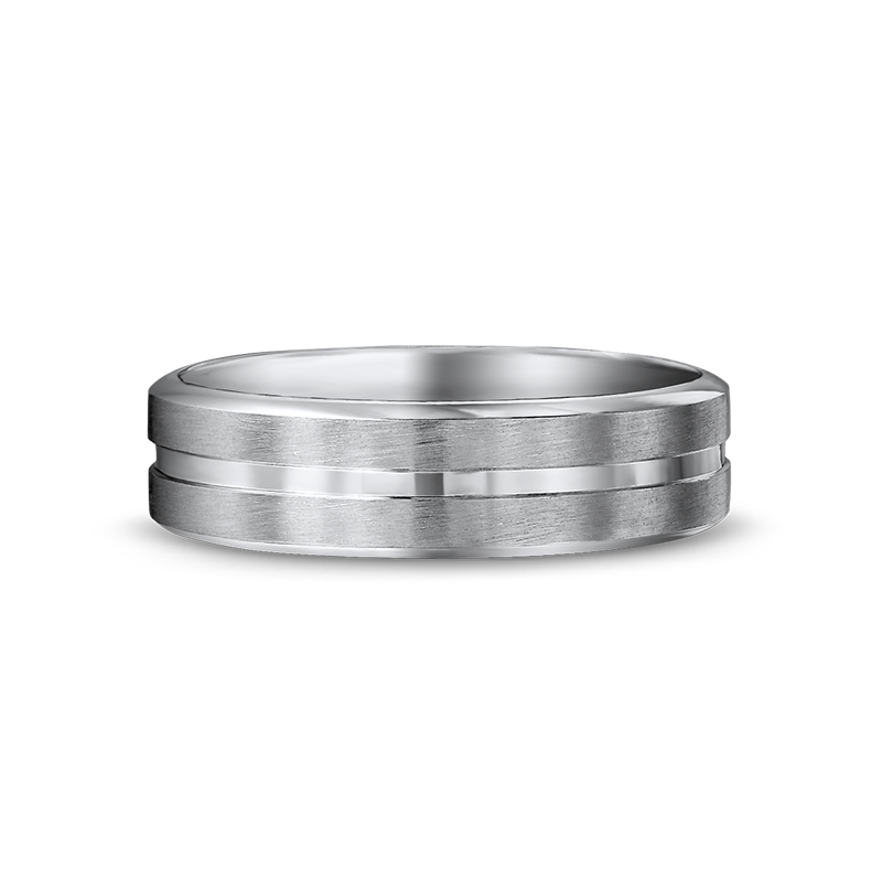 Max-line Brushed with One Shiny Groove Gents Wedding Band