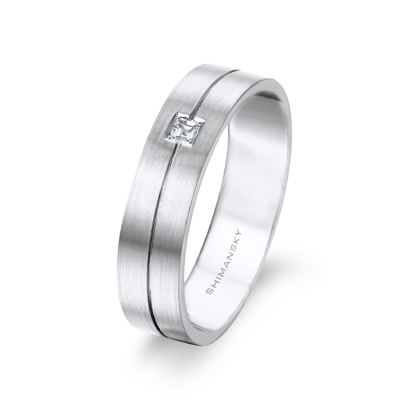 Max-line Single Groove Asscher Cut Diamond Band