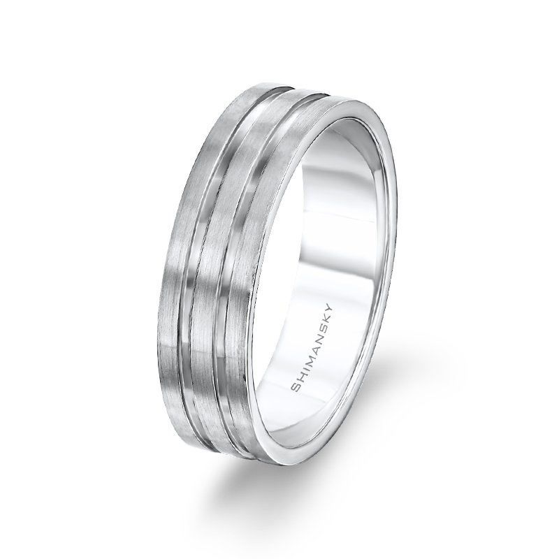 Max-Line Two Polished Grooves with Satin Finish Mens Band