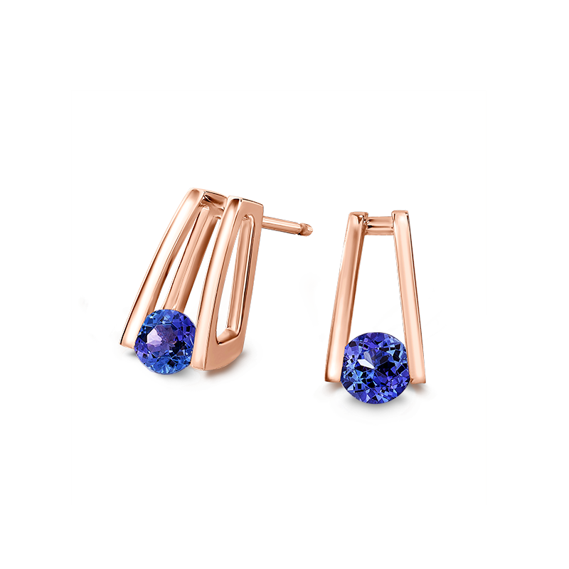 Millennium Tanzanite Earrings in Rose Gold Shimansky