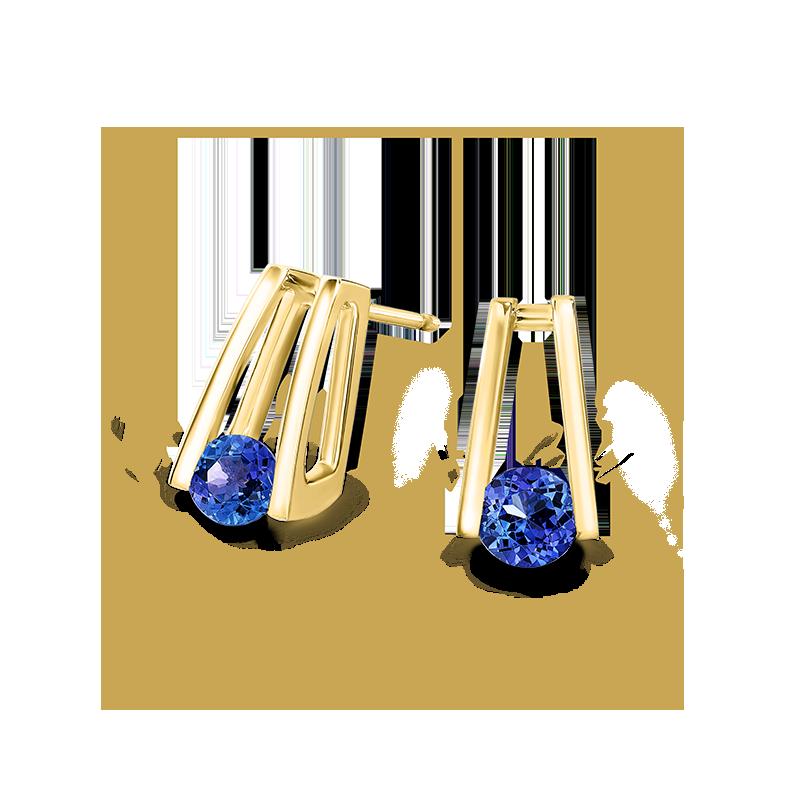 Millennium Tanzanite Earrings in Yellow Gold Shimansky