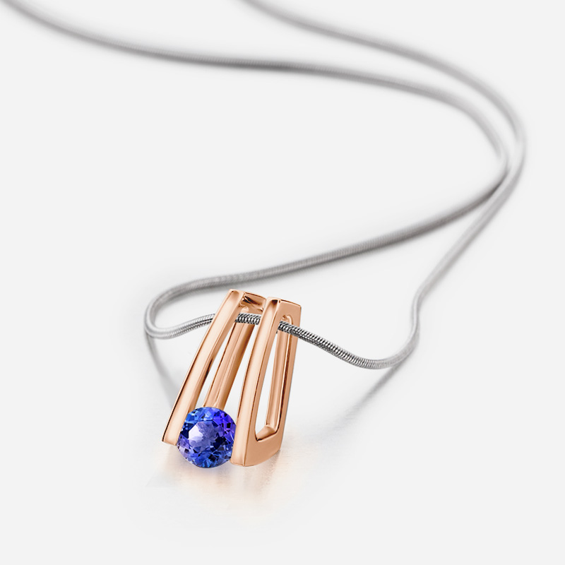 Millennium Tanzanite Pendant in Rose Gold Shimansky