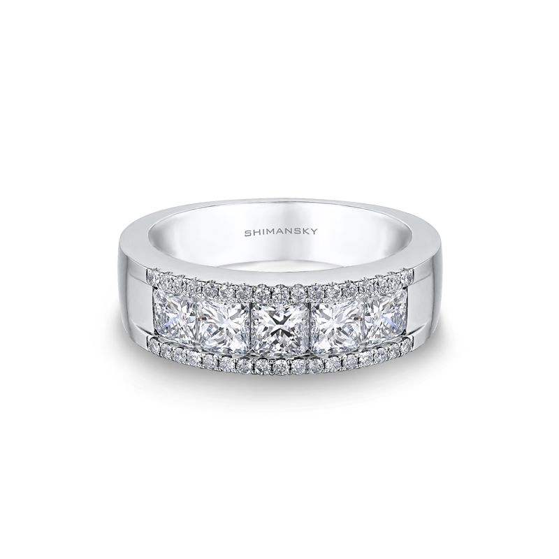 Shimansky My Girl 5 Stone Channel and Micro Set Diamond Half Eternity Ring