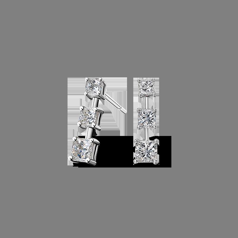 Shimansky My Girl Diamond 3 Stone Graduating Drop Earrings