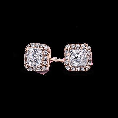 My Girl Diamond Halo Earrings 18K Rose Gold | Shimansky