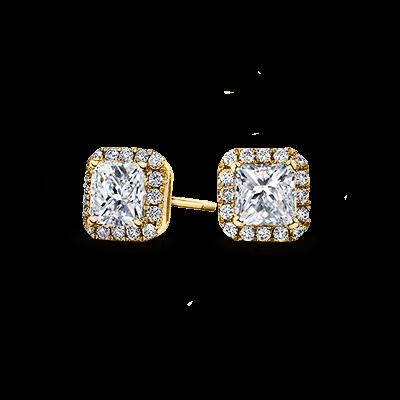 My Girl Diamond Halo Earrings 18K Yellow Gold   Shimansky