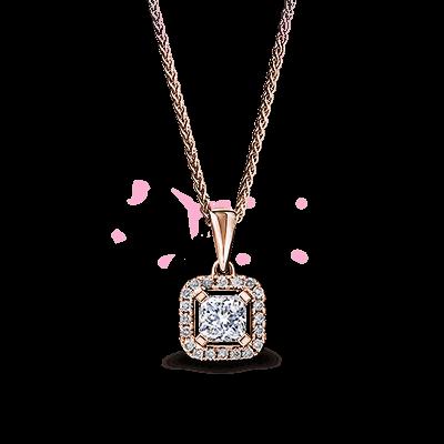 My Girl Diamond Halo Pendant 18K Rose Gold | Shimansky