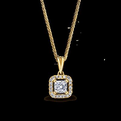 My Girl Diamond Halo Pendant 18K Yellow Gold | Shimansky