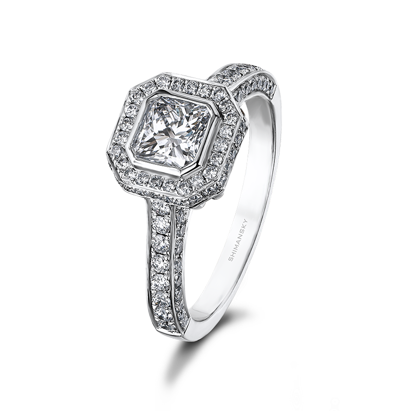 Shimansky My Girl Halo Diamond Engagement Ring with Pave Diamonds
