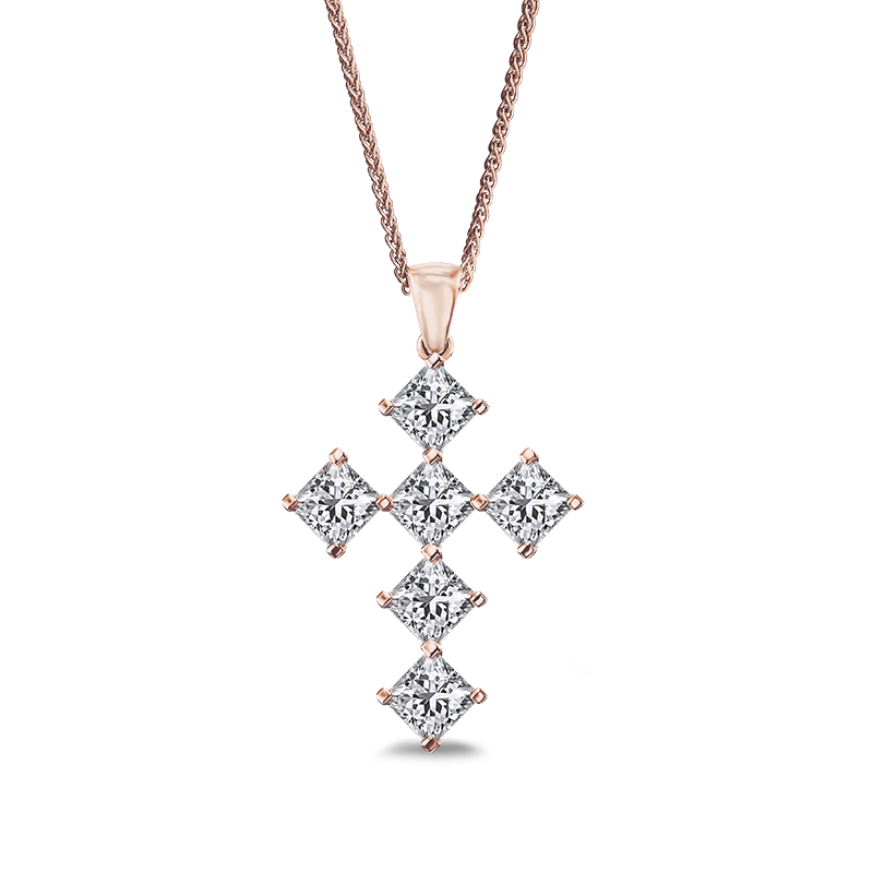 Shimansky My Girl Diamond Diagonal Cross Pendant