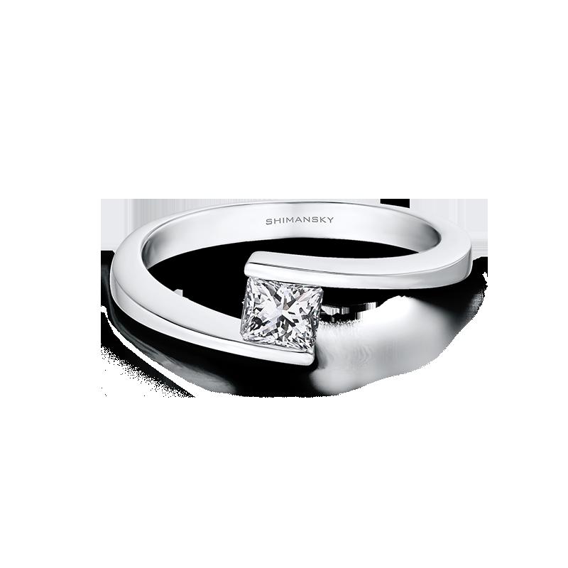 Shimansky My Girl Solitaire Overlap Engagement Ring
