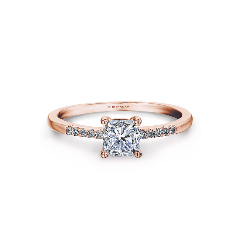 Shimansky Rose Gold Cushion Cut Solitaire Engagement Ring