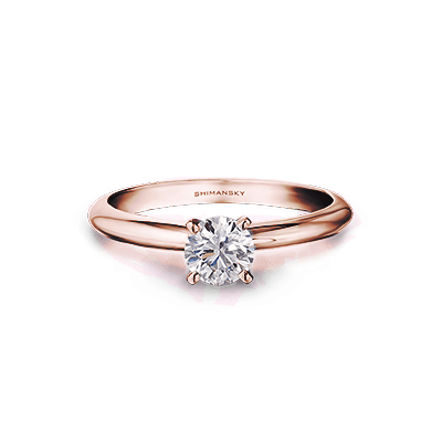Solitaire Diamond 4 claw ring 18K Rose Gold | Shimansky