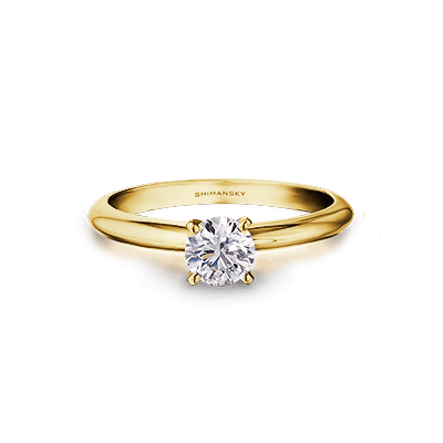 Solitaire 4 claw diamond ring 18K yellow gold | Shimansky