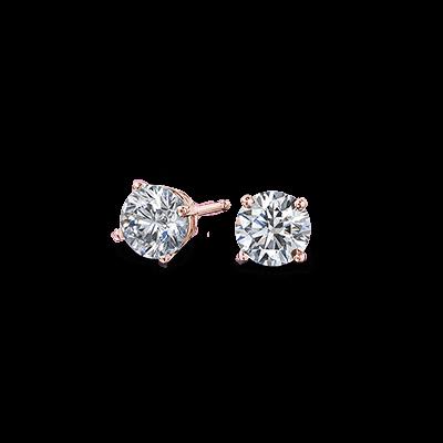 Solitaire Diamond Earrings 18K Rose gold   Shimansky