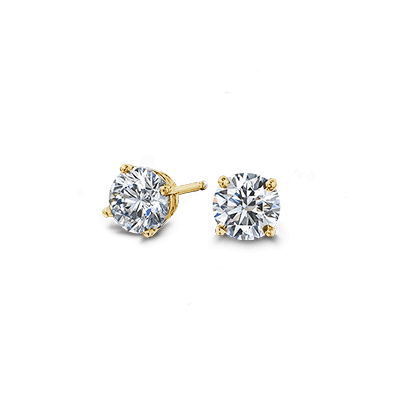 Solitaire Diamond Earrings 18K Yellow gold | Shimansky