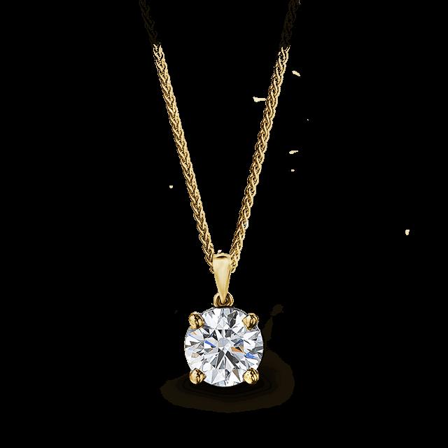 Solitaire Diamond Pendant 18K Yellow Gold | Shimansky