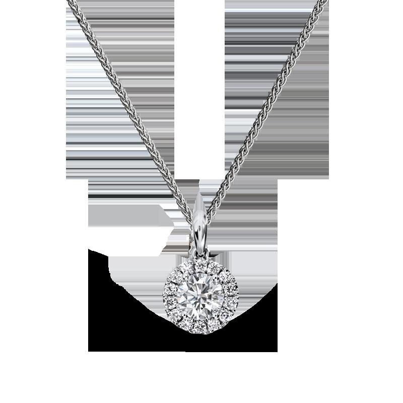 Round Halo Diamond Pendant   Shimansky