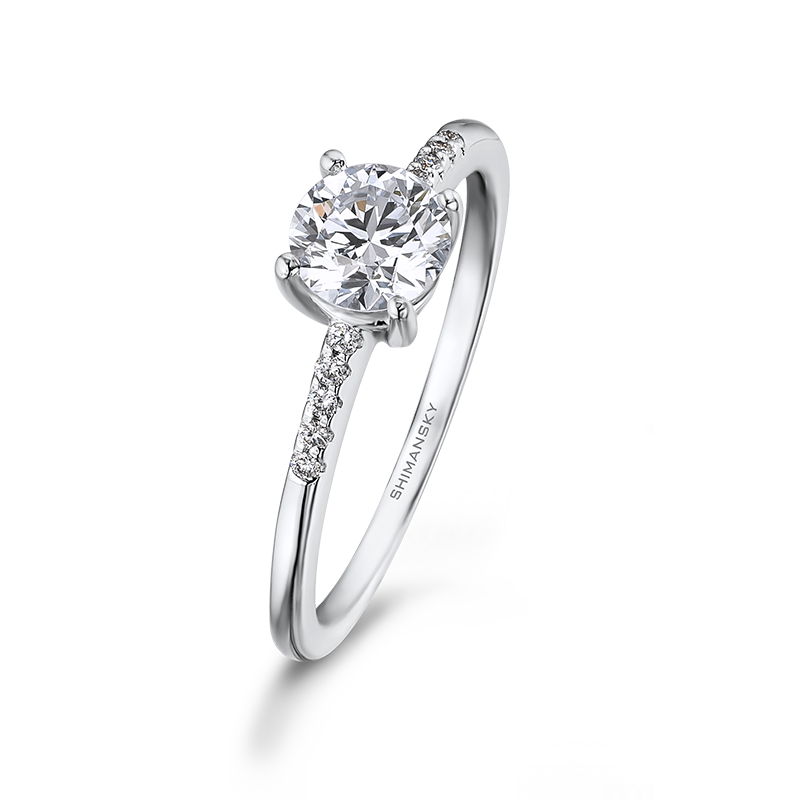 Shimansky Round Brilliant Micro Set Engagement Ring