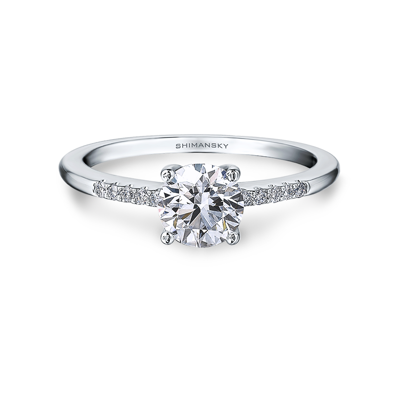 Shimansky Round Brilliant Micro Set Engagement Ring