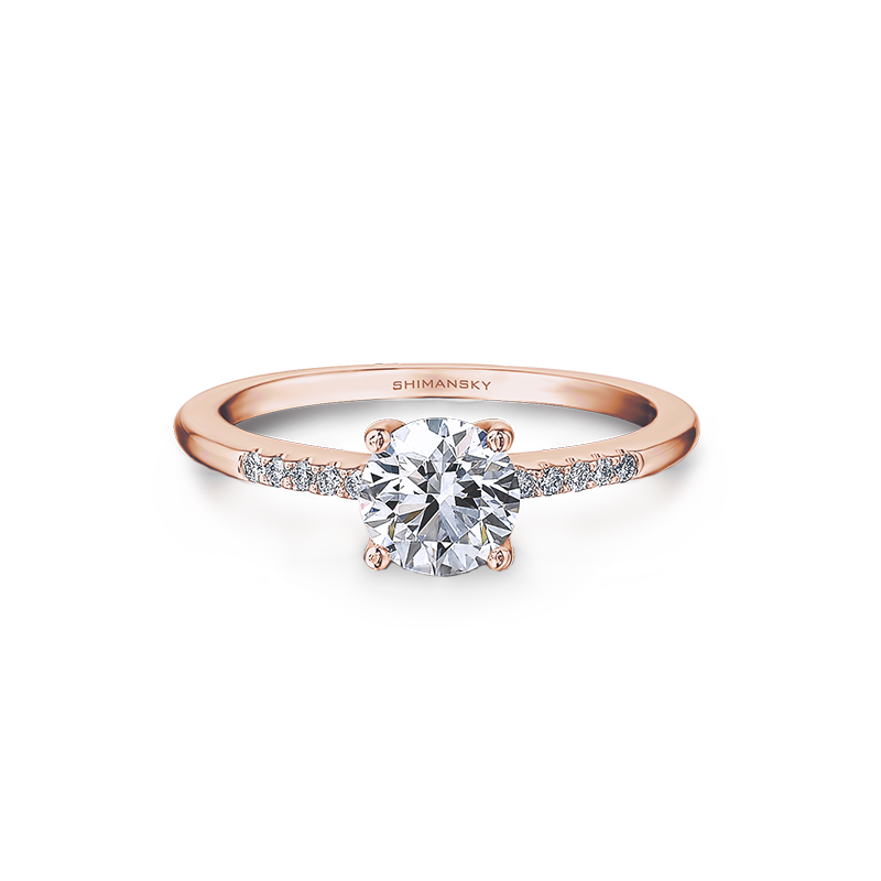 Rose Gold Solitaire Ring with Micro Set
