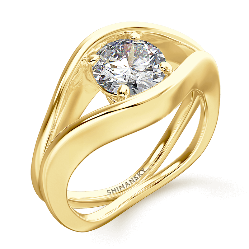 silhouette double shank ring | 18k yellow gold | Shimansky