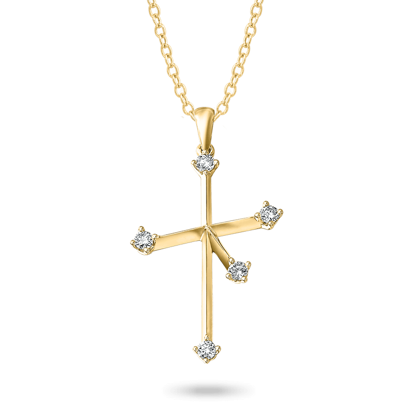 Southern Cross Diamond Pendant Yellow Gold Shimansky