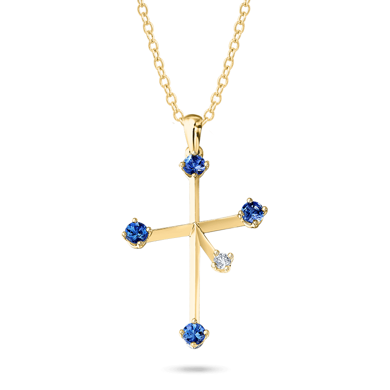 Southern Cross Diamond and Tanzanite Pendant Yellow Gold Shimansky