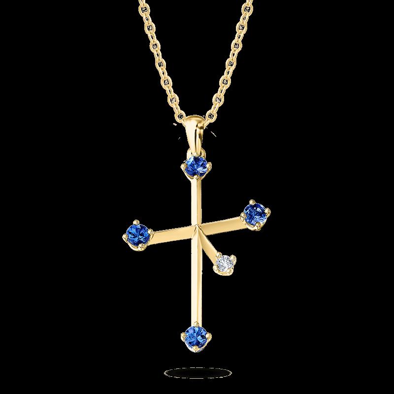 Southern Cross Diamond and Tanzanite Pendant Yellow Gold Shimansky