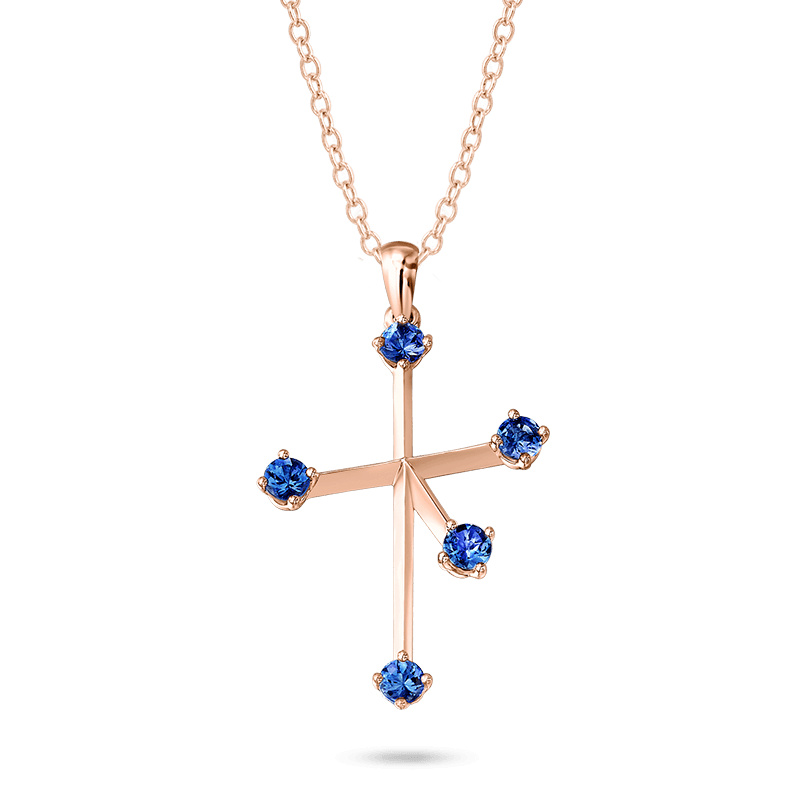 Southern Cross Tanzanite Pendant Rose Gold Shimansky