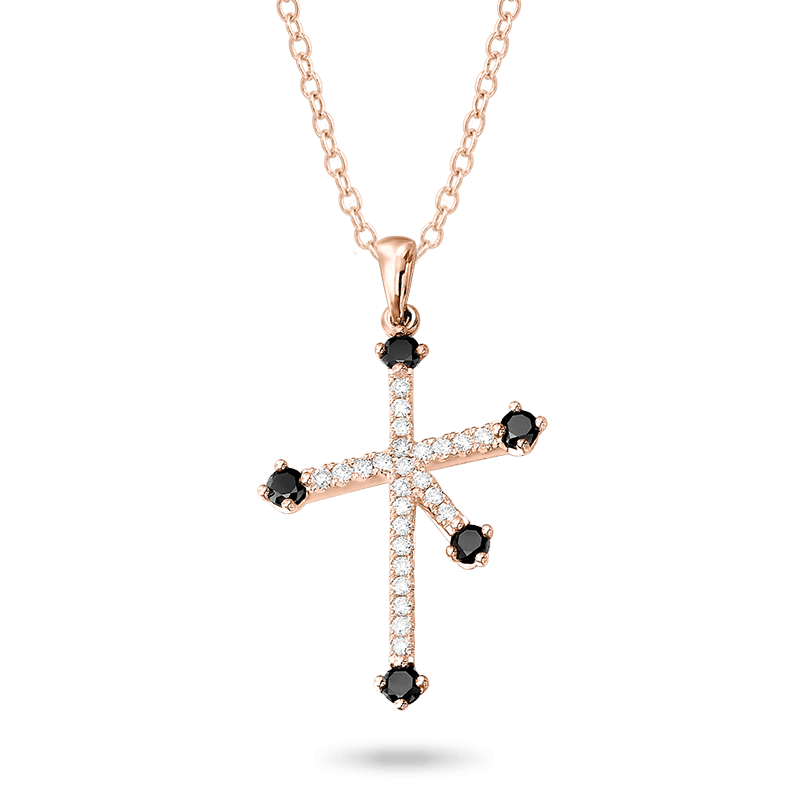 Southern Cross Black and White Diamond Micro Set Pendant In Rose Gold Shimansky