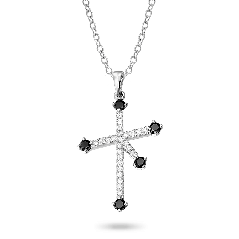 Southern Cross Black and White Diamond Micro Set Pendant In White Gold Shimansky