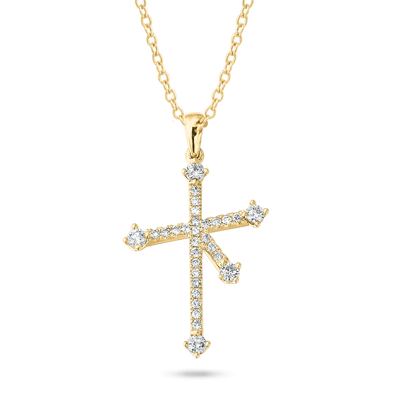 Southern Cross Diamond Micro Set Pendant In Yellow Gold Shimansky